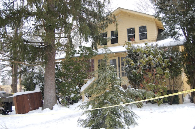 Police tape blocked off the home Friday morning. (Credit: Cyndi Murray)