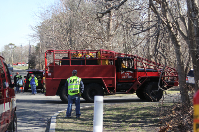Firefighters from East Quogue respond to the scene. (Credit: Jen Nuzzo)