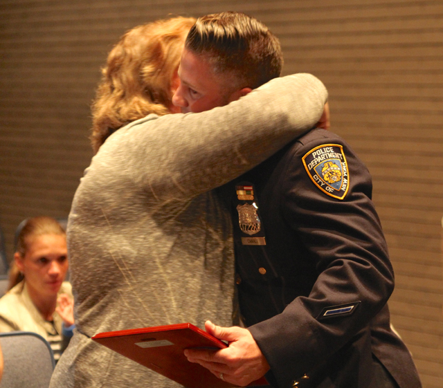 Jackie Powell thanking Christopher Canale for saving her mother's life.