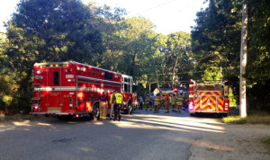 RACHEL YOUNG | Riverhead and Flanders firefighters responded.