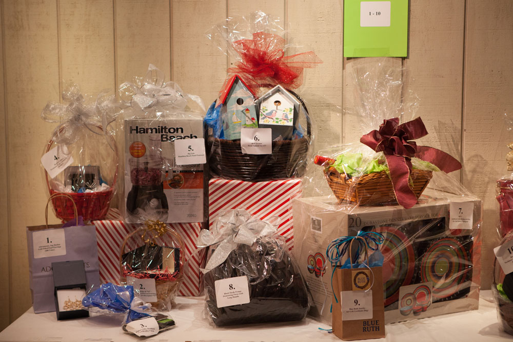 Some of the dozens of gifts provided by local businesses for the auction.