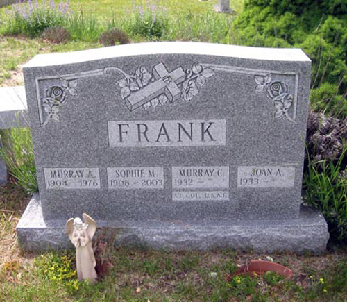 The headstone on the Frank family burial site in Westhampton Beach.  (Credit: Dean Speir, On the Beach blog)