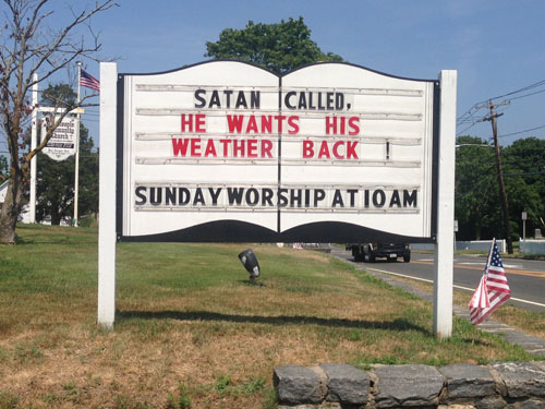 Church heat wave sign
