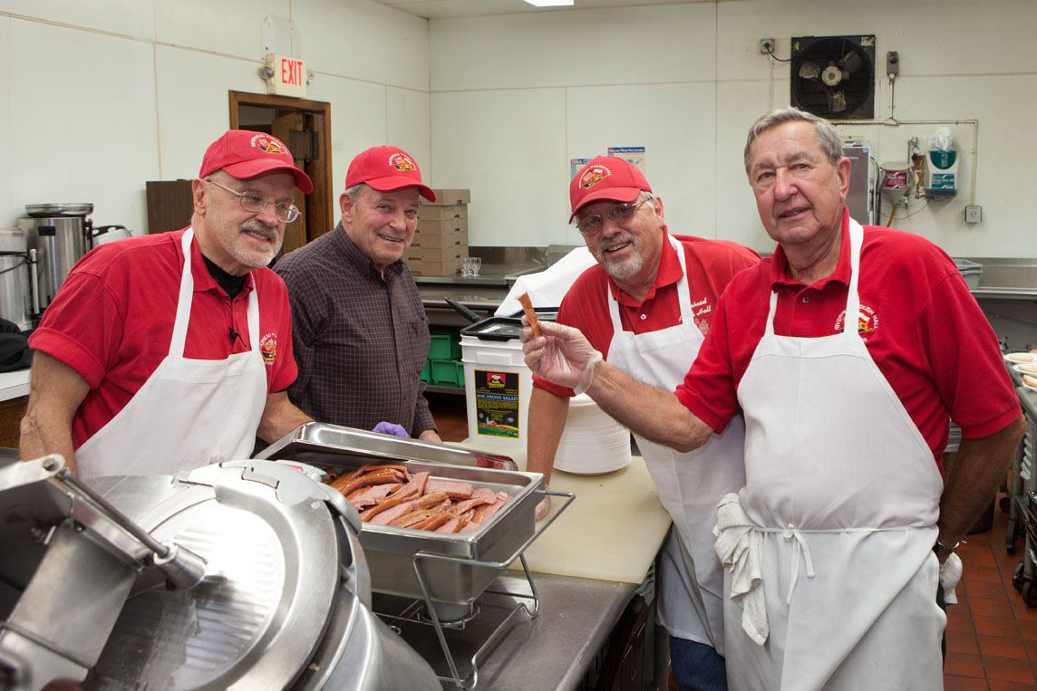 Cooking for a crowd (from left):  Mike Osip, Bob Bugdin, Wes Slovanik and Zenon Czujko.