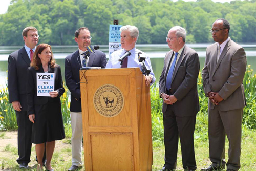 Dave Colone, Chairman of Suffolk County Planning Commissioner; Adrienne Esposito, Executive Director of the Citizens Campaign for the Environment; Bob Delucca, President and CEO of the Group for the East End, County Executive Steve Bellone, Dick Amper, Executive Director of the Long Island Pine Barrens Society and Deputy Presiding Officer DuWayne Gregory. (Courtesy photo)