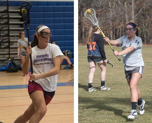 Riverhead lacrosse player Courtney Troyan (left) and Shoreham-Wading River's Manuela Cortes will be key players for their respective teams this season. (Credit: Robert O'Rourk)
