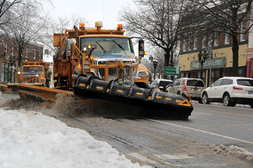 Carrie Miller photo | Plows pushing along Main Street about 10:30 a.m. Wednesday.