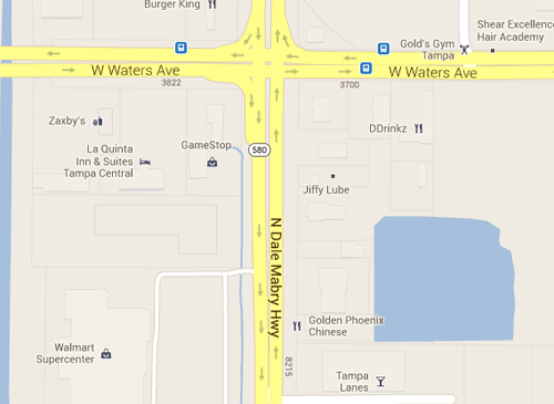 Google map of Dale Mabry Highway and Waters Avenue in Tampa, Fla.
