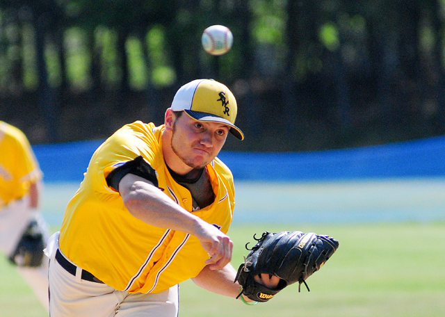 Shoreham-Wading River senior Matt Fox pitched a complete game shutout against Bayport-Blue Point in Game 2 of the Class A county championship Friday. (Credit: Bill Landon)