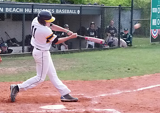 Shoreham-Wading River senior Matt Fox drove in a pair of runs in the Wildcats' playoff win over Westhampton Wednesday. (Credit: Joe Werkmeister)
