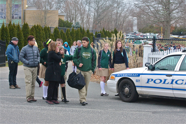 Students leave Mercy High School Wednesday. (Credit: Barbaraellen Koch)