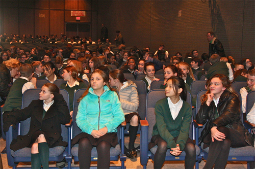McGann-Mercy students were brought into the auditorium at Riverhead High School following a threat made against the school. (Credit; Barbaraellen Knoch)