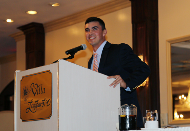 Brian Morrell delivers a speech after winning the Yastrzemski Award Wednesday. (Credit: Joe Werkmeister)