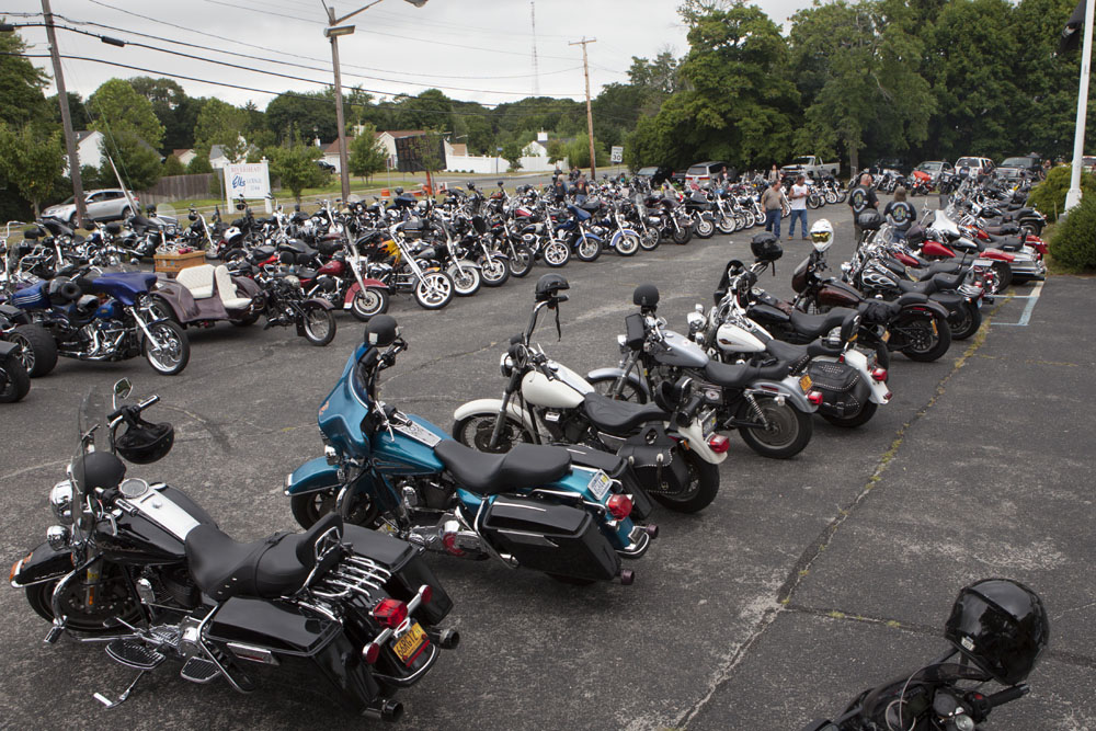 Motorcycles in the parking lot of the Elks Lodge. (Credit: Katharine Schroeder)