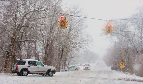 A car slid off Northville Turnpike just north of Middle Road. (Barbaraellen Koch Photo)