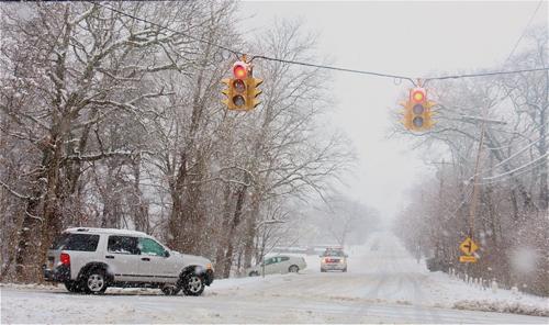 A car slid off Northville Turnpike just north of Middle Road. (Barbaraellen Koch Photo)