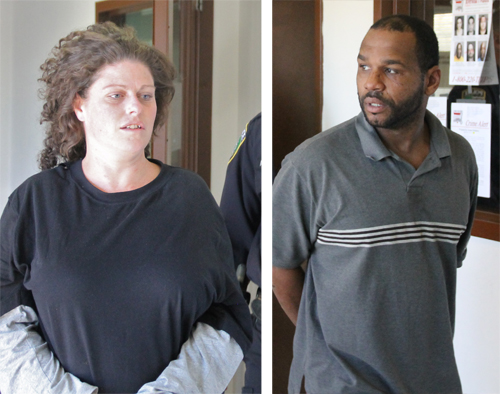 PAUL SQUIRE PHOTOS | (L-R) Louise Reeves and Roshawn Childress were arraigned in Riverhead Town court Tuesday morning.