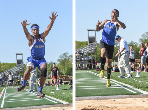 Riverhead senior Davion Porter (left) and Marcus Moore both jumped personal bests in the triple jump at Tuesday's Division II Championship. (Credit: Robert O'Rourk)