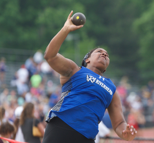 Riverhead senior Ra'Shae Smith finished third in the shot put at the Division II Championship. (Credit: Robert O'Rourk)