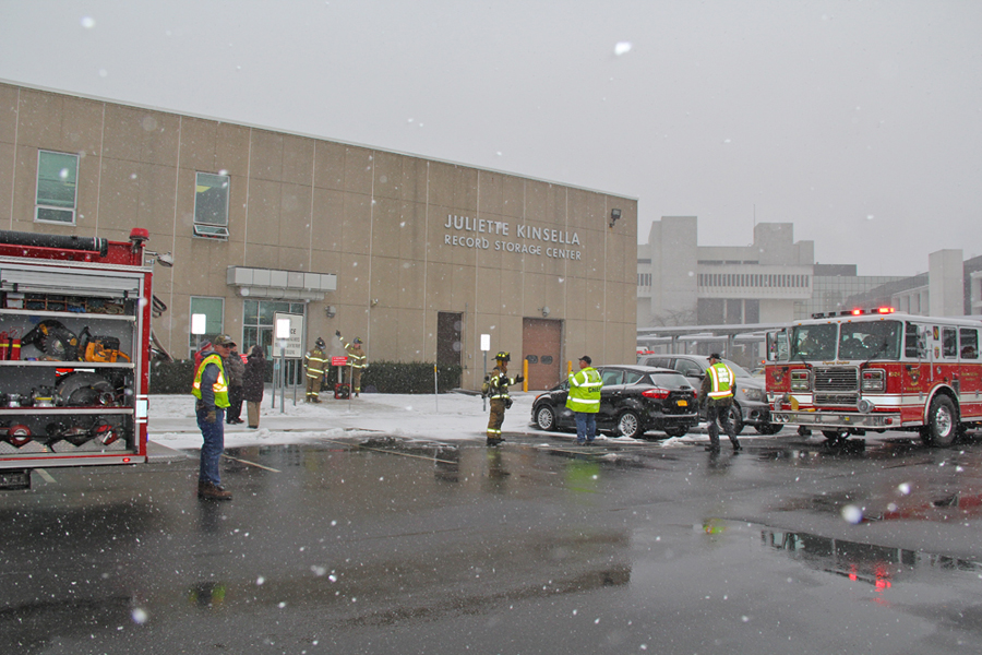 The scene of a fire at the county center in Riverside on Monday. (Credit: Carrie Miller)