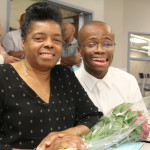 Patricia Boardman, special education aide, with her son,  Brandon. She retired after 13 years.
