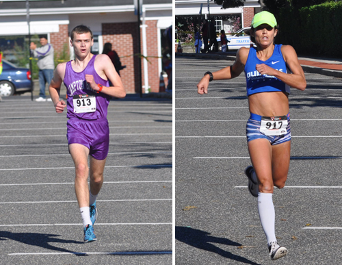 Nicholas Berglin, a Hampton Bays H.S. senior, and Tara Farrell, a Long Island Marathon winner, were the top finishers in Saturday's Run for the Ridley 5K race in Riverhead. (Credit: Grant Parpan)