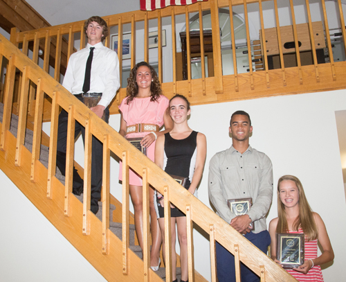 The News-Review Athletes of the Year for 2013-14 are: (from left) Riverhead's Ryan Hubbard and Carolyn Carrera, Aimee Manfredo of Shoreham-Wading River and McGann-Mercy's Luis Cintron and Meg Tuthill. (Credit: Robert O'Rourk)