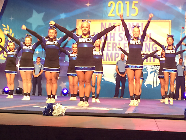 Riverhead's varsity cheerleading team performs in Orlando, Fla. this morning at nationals. (Credit: courtesy photo)
