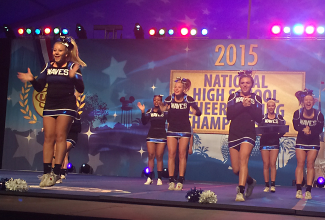 Riverhead's cheerleaders perform in the semifinals. (Credit: courtesy photo)