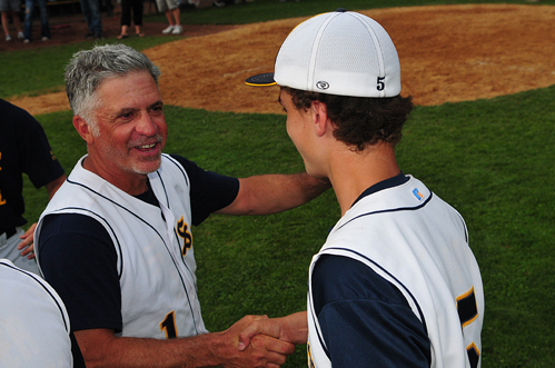 Shoreham-Wading River coach Sal Mignao, pictured during the 2012 county finals, announced his retirement Saturday. (Credit: Bill Landon, file)