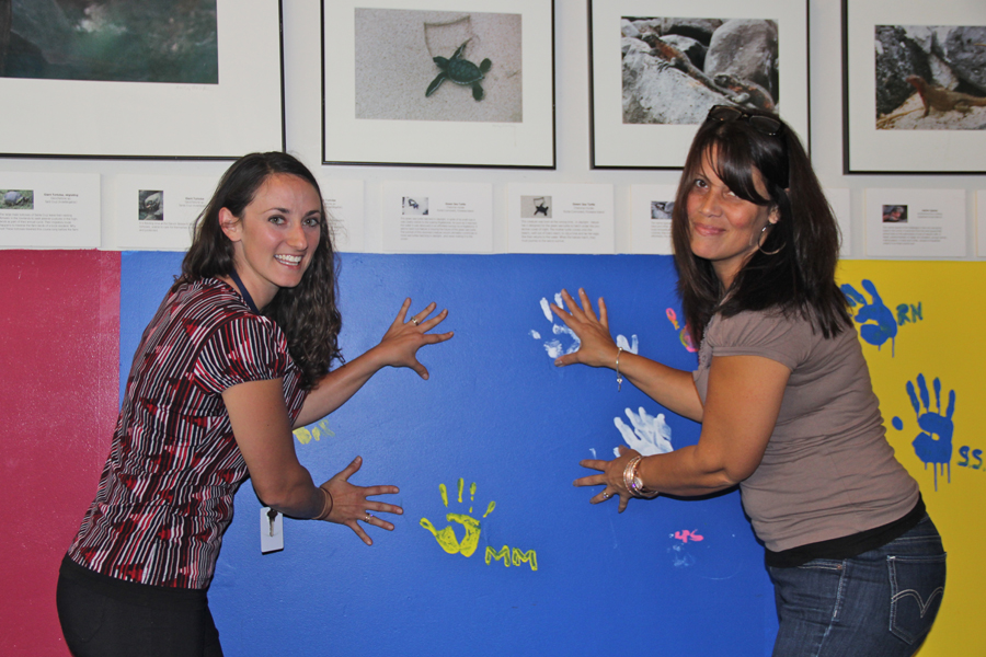 Long Island Science Center executive director Michelle Pelletier with another staffer Thursday. (Credit: Carrie Miller)