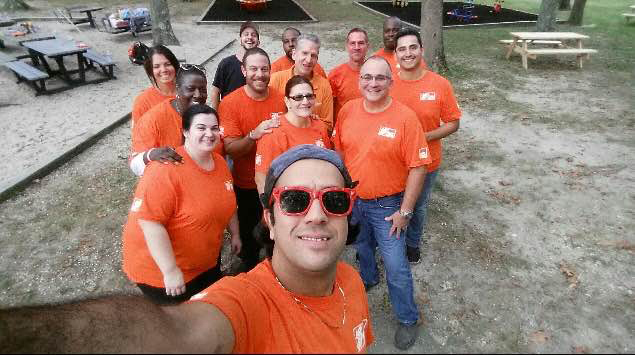 Home Depot employees posed for a selfie. (Credit: Courtesy of Michele Cardaci)