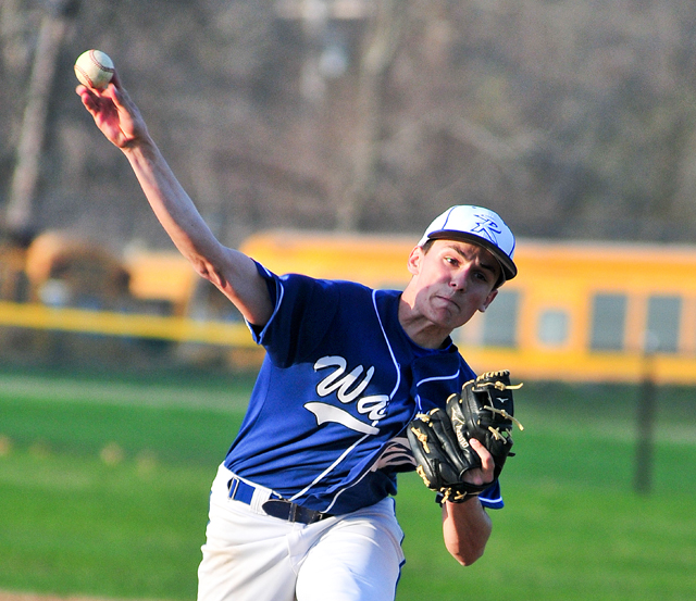 Riverhead senior Kenny Simco, pictured in a game earlier this year, threw a two-hit shutout against North Babylon Wednesday. (Credit: Bill Landon, file)