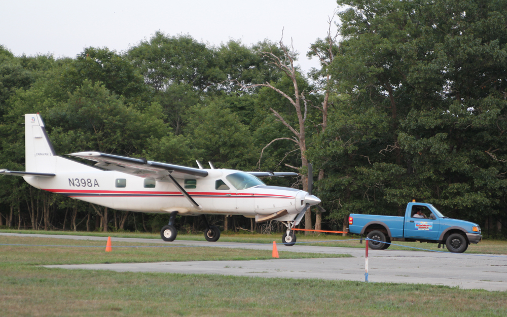 The plane in the July 30 skydiving accident being taxied back to its hangar. (Credit: Jennifer Gustavson, file)