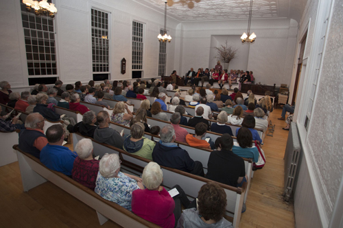 The Jamesport Meeting House was packed Friday night for a spelling bee that raised more than $4,000. (Credit: Katharine Schroeder)