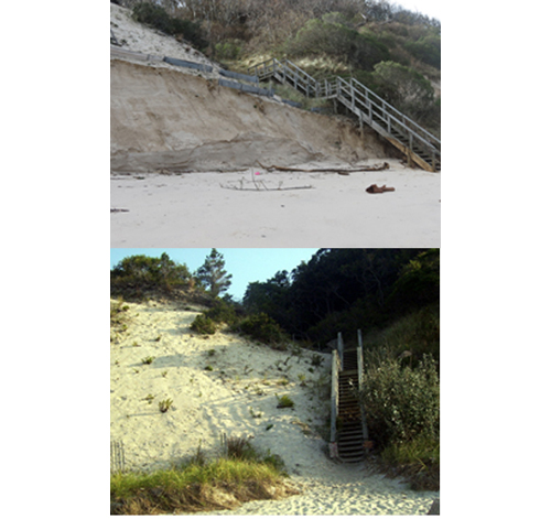 COURTESY PHOTOS | Stairs leading up to Camp DeWolfe before and after Hurricane Sandy.