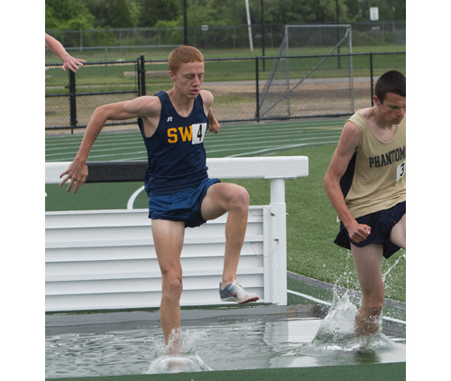 Shoreham-Wading River senior Keith Steinbrecher is seeded second in the 3,000-meter steeplechase for the state qualifier. (Credit: Robert O'Rourk)