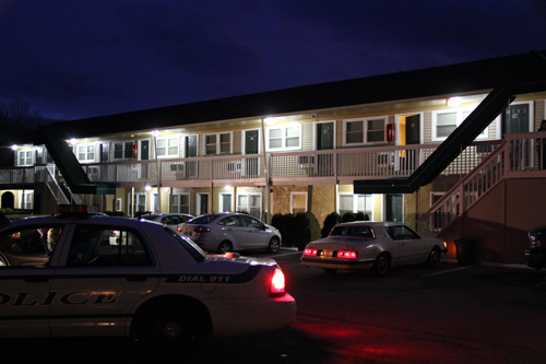 Riverhead police said a woman gave birth at the Swiss Motel in Calverton Monday.