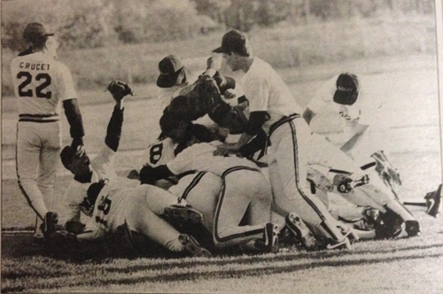 The Shoreham-Wading River baseball team celebrates a league championship in 1990. (Credit: News-Review archives)