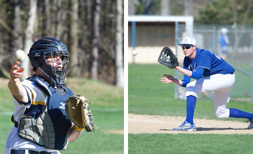 Shoreham-Wading River catcher Chris Sperruzzi and Riverhead first baseman Pat Cuccia will lead their teams into the postseason. (Credit: Robert O'Rourk)