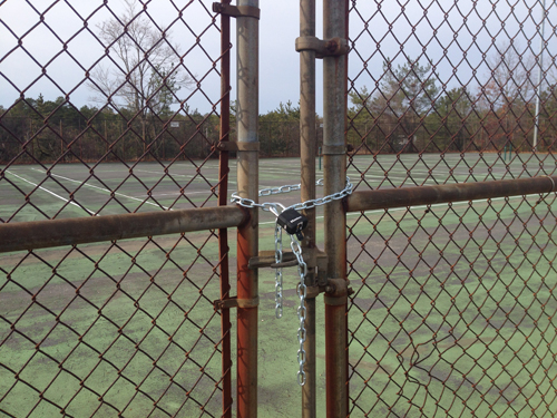 The Shoreham-Wading River tennis courts have been condemned. (Credit: Joe Werkmeister)