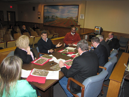 Dennis McDermott speaks with members of the Riverhead Town Board Thursday morning.
