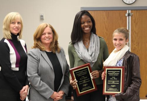 BOE member Sue Koukonas, Riverhead superintendent Nancy Carney, Shania Daniel and Annie Harris. (Credit: Jen Nuzzo)