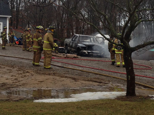 CYNDI MURRAY PHOTO | A Dodge pickup was engulfed in flames Monday morning.