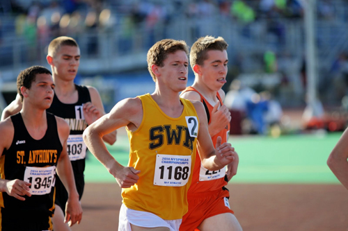 Shoreham-Wading River senior Ryan Udvadia finished fourth in the 3,200 Friday. (Credit: Hal Henty)
