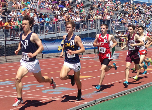 Shoreham-Wading River senior Ryan Udvadia ran a personal best time in the 1,600 Saturday in Syracuse. (Credit: Joe Werkmeister)