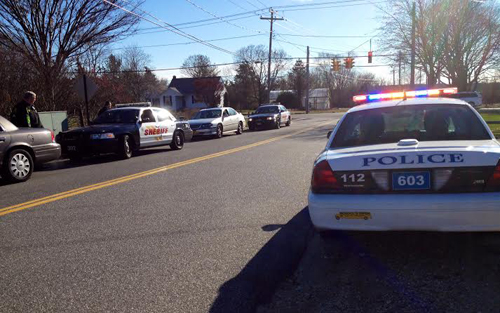 RACHEL YOUNG PHOTO | Sheriffs and Riverhead Police on scene on Sound Avenue Monday afternoon.