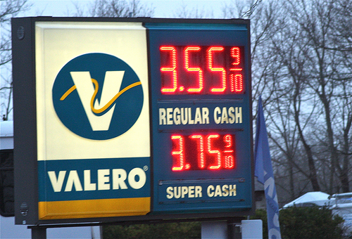 FILE PHOTO | Town officials have said the digital sign at the Valero station in Jamesport violates historic district codes.