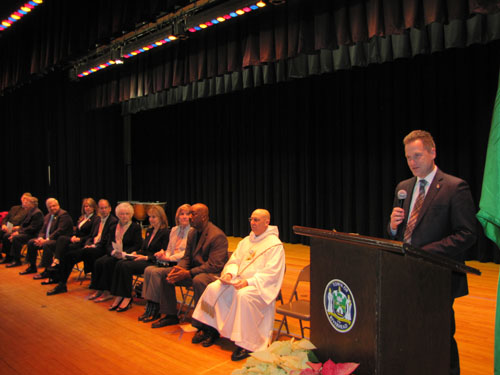 TIM GANNON PHOTO | Sean Walter says some words at the town's inauguration ceremonies Wednesday at Pulaski Street School.
