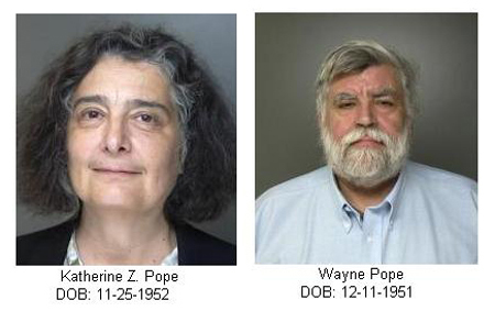 Police mugshots of the former Shelter Island Town Justice Katherine Pope and her husband Wayne.